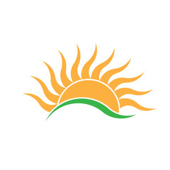 Summer Sunrise wave rays logo. Vector logo design