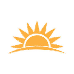 Sunrise hand drawn logo. Vector graphic illustration