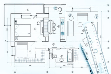 architectural drawings with pencil and ruler