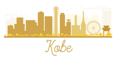 Kobe City skyline golden silhouette.