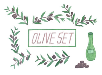 Set of watercolor olive branches.