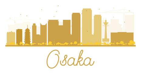 Osaka City skyline golden silhouette.
