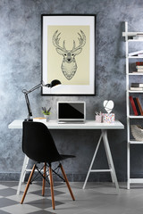 Interior of modern workplace for designer, indoor