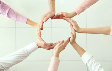 Teamwork concept. Business people hands