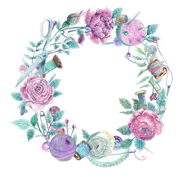 Watercolor wreath of objects for sewing