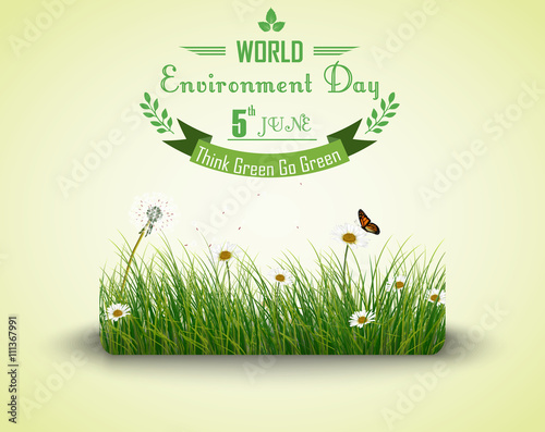 Green grass with flowers and butterflies isolated background for world environment day