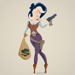 Cowgirl with gun. Funny cartoon character. Vector illustration in retro style