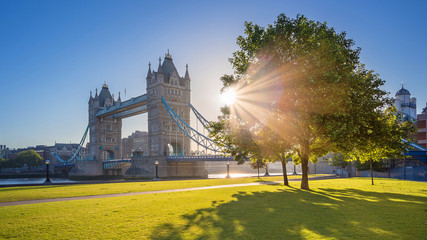 Photo sur Plexiglas Londres London, UK - Iconic Tower Bridge at sunrise in the morning with sunlight, tree, blue sky and green grass