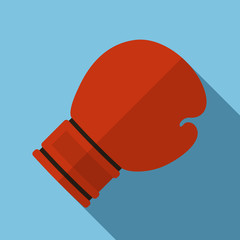 Vector illustration. Icon of toy red boxing gloves in flat design with shadow effect