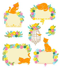 frames and decorations with flowers and cats
