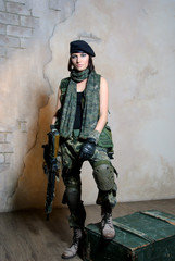 military woman with automaton