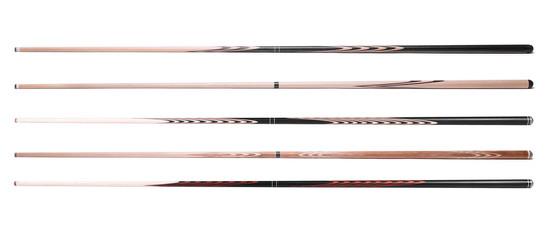 billiard cue sticks on white background