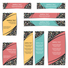 Set of web banners with floral pattern. Vector illustration isolated on white. Wildflowers, moss and berries on dark background. Web banners with freehand pattern