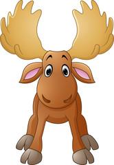 Cartoon happy moose with big horns