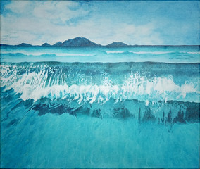 Seascape blue ocean and wave with mountain painting | landscape art illustration | water background