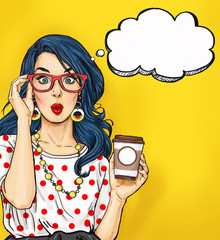 Pop Art girl with coffee cup in glasses with thought bubble. Party invitation. Birthday card. Hollywood, movie star. Comic woman. Sexy girl. Amazed, wow, cute, lips, hippie, face, wonder, temptation