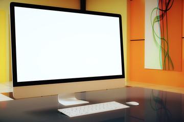 Orange interior white screen