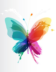 Fotorolgordijn Vlinders in Grunge Colorful butterfly created from splash and colored objects.