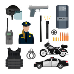 Vector set of police objects and equipment isolated on white background. Design items, icons.