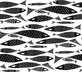 Vector underwater black and white pattern.