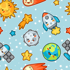 Kawaii space seamless pattern. Doodles with pretty facial expression. Illustration of cartoon sun, earth, moon, rocket and celestial bodies