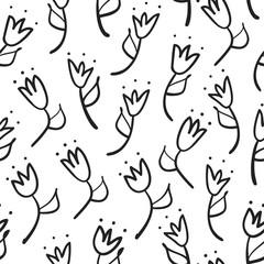 doodle tulip seamless pattern, vector illustration
