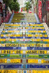 Colorful mosaic tiles at the Escadaria Selaron Steps in Rio de Janeiro, Brazil