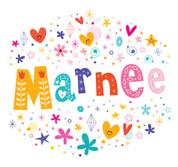 Marnee girls name decorative lettering type design