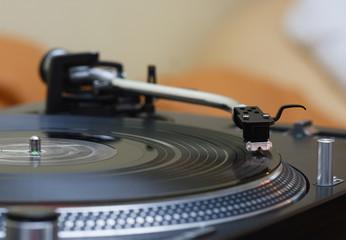 Turntable music vinyl record player, needle in focus