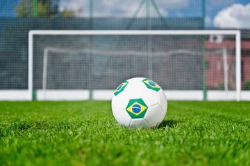 Brazilian soccer ball on the penalty spot