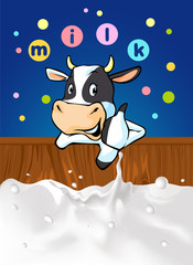 funny design with cow recommending great milk - vector illustration