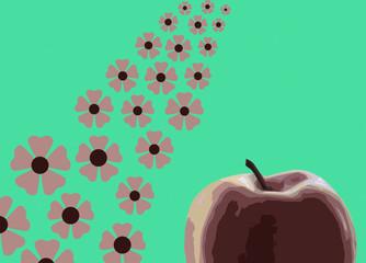 Яблоко на зеленом фоне