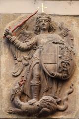 Détail d'un immeuble à Prague représentant Saint Georges terrassant le dragon