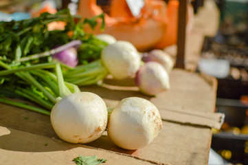 Turnips on display at the farmers market