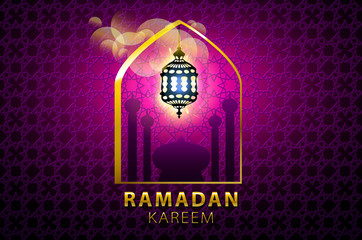 Hanging colorful Arabic lantern for holy month of Muslim community. Shiny greeting Islamic lamp for Ramadan. Beautiful lantern on Arabic geometric pattern with shadow. Soft pink colors