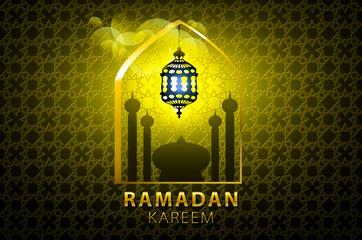 Ramadan Kareem greeting card glowing gold arabic lamp - Translation of text : Ramadan Kareem - May Generosity Bless you during the holy month