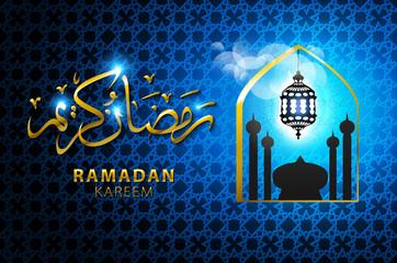 ramadan kareem. Shiny blue Arabic lamp on stars and moons decorated background for holy month of Muslim community Ramadan Kareem celebration.