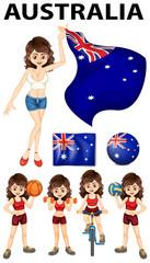 Australia flag and many sports