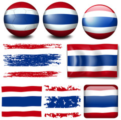Thailand flag on different items