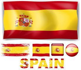Spain flag in different designs and wording
