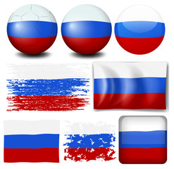Russia flag on different items