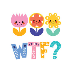 WTF greeting card with decorative lettering text