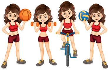 Woman athlete doing different sports