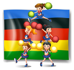 Olympics flag and cheerleaders