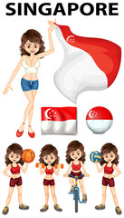 Singapore flag and woman athlete