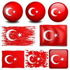 Turkey flag on different objects