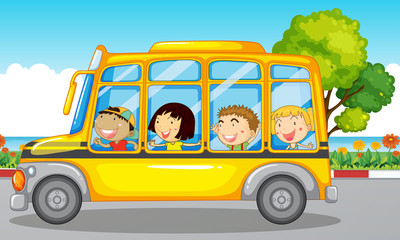 Kids riding on school bus