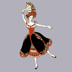 Beautiful heroine. Vector illustration of a beautiful dancer with long dress and fan with floral elements. Dancing girl ballerina isolated on grey background. Ballerina in dance. Design template