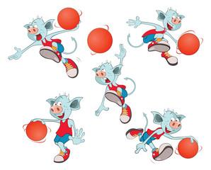 Set of  Cartoon Illustration. A Cute Devil for you Design.A Basketball Team. Cartoon Character