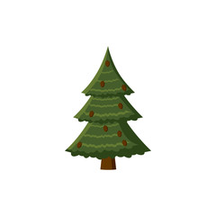 Spruce with cones icon, cartoon style